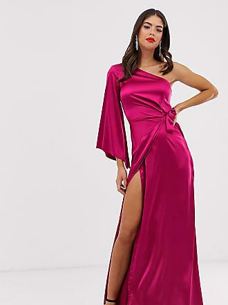 bbdf3a611e52 Missguided Tall Vestito lungo monospalla drappeggiato lampone - Rosa