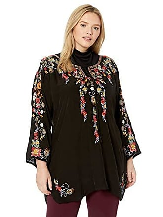 Johnny Was Womens Size Plus Embroidered Keyhole Tunic, Black 2X