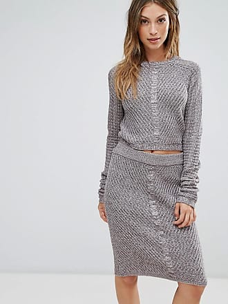 Bellfield Orta Rib and Cable Mix Knit Sweater Top - Gray
