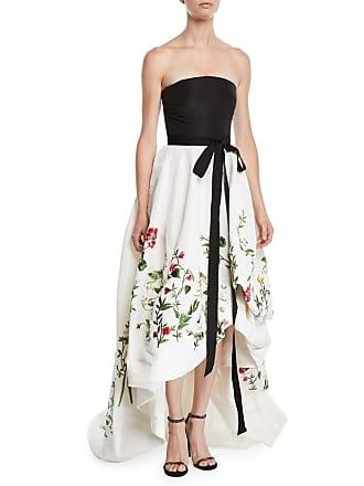 434675a9 Oscar De La Renta Strapless Ribbon-Belt Botanical-Embroidered High-Low Evening  Gown