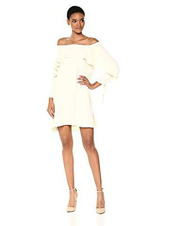 Halston Heritage Womens Long Sleeve Cold Shoulder Dress with Flounce Detail, Cream 6