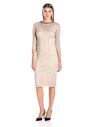 ff98287a6f9 London Times Womens Plus Size Elbow Sleeve Lace Sheath Dress w. Beaded  Neck
