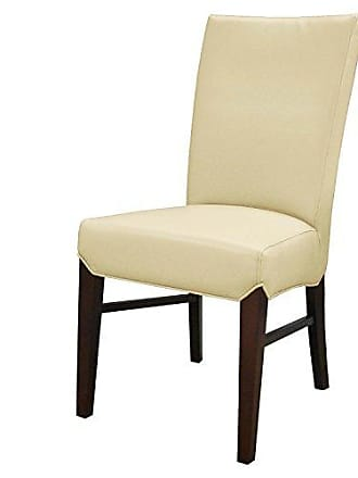 New Pacific Direct 268239B-693 Milton Bonded Leather, Set of 2 Dining Chairs, Cream