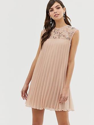 Asos sleeveless trapeze pleated mini swing dress with embellished yoke - Pink