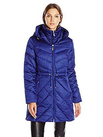 Ellen Tracy Outerwear Womens Satin Down Anorak, Cobalt, Large