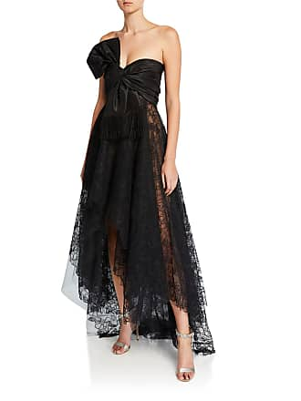 63b5cca6aaf Oscar De La Renta Strapless Corded Peony Lace Bow Gown