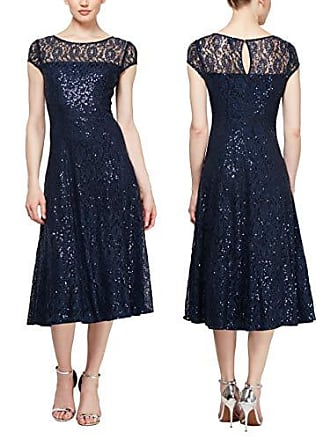 S.L. Fashions Womens Sequin Lace Fit and Flare Dress, Navy Short Sleeve, 12