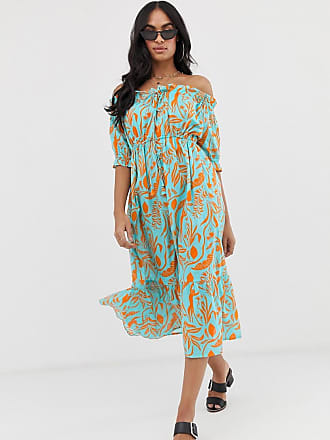 7454f5710e Asos off shoulder tiered maxi beach dress in blocked green tropical floral  - Multi