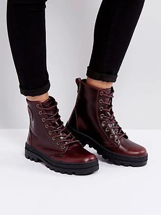 8f7674b542dae Palladium Pallabosse Regal Burgandy Leather Flat Ankle Boots