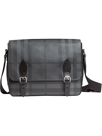 b7abcb7e20e3 Burberry Medium Leather Trim London Check messenger bag - Black