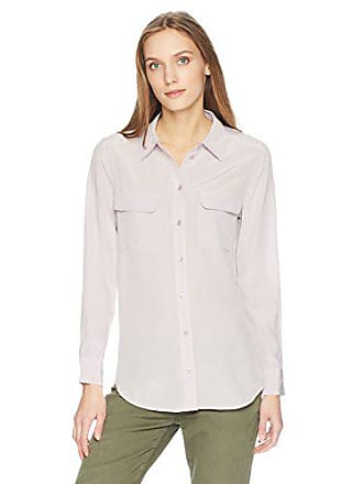 8d64ffcd04527f Equipment Womens Classic Sandwashed Crepe De Chine Silk Slim Signature, Violet  Ice, S