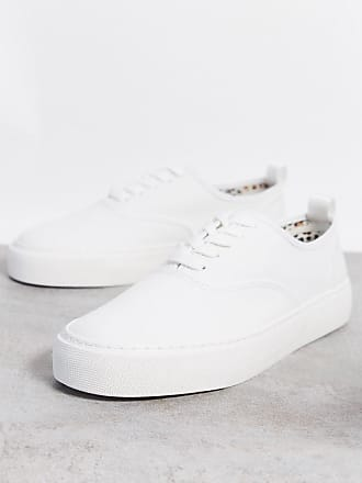 Topman chunky canvas trainers with rubber sole in white