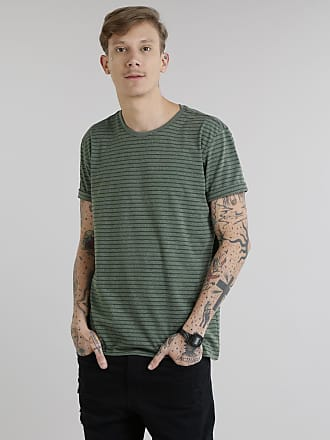 Basics Camiseta Masculina Básica Listrada Manga Curta Gola Careca Verde Militar