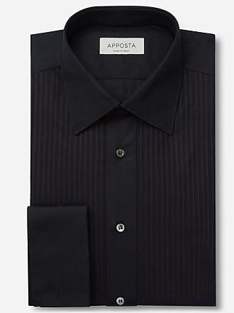 Apposta Shirt solid black 100% pure cotton, collar style low straight point collar, cuff french cuff (cufflinks)