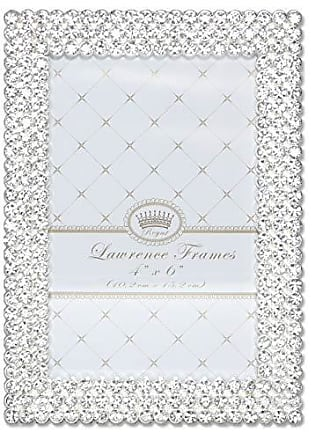 Lawrence Frames 4x6 Juliet Silver Metal Crystals Picture Frame