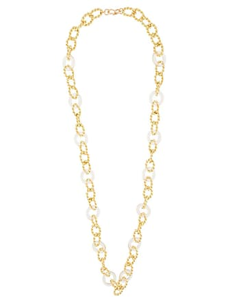 Kenneth Jay Lane knotted chain link necklace - Dourado