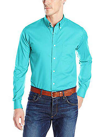 Dockers Mens No Wrinkle Long Sleeve Button-Front Shirt, Baltic Blue,Small