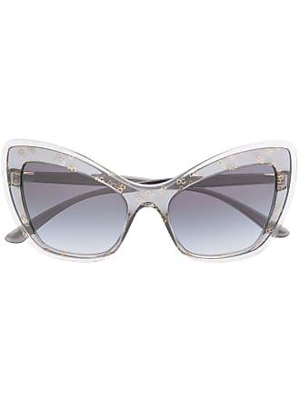Dolce & Gabbana Eyewear Óculos de sol gatinho com logo - Cinza