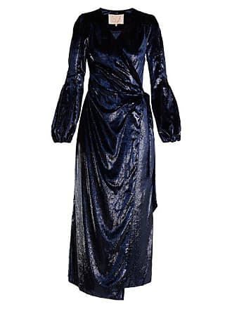 Maria Lucia Hohan Assia Velvet Wrap Dress - Womens - Navy