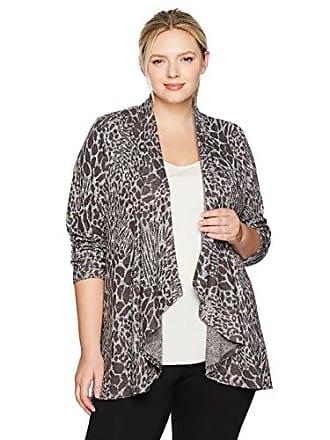Ruby Rd. Womens Plus-Size Cascade Collar Leopard Heathered Metallic Knit Cardigan, Charcoal Combo, 1X