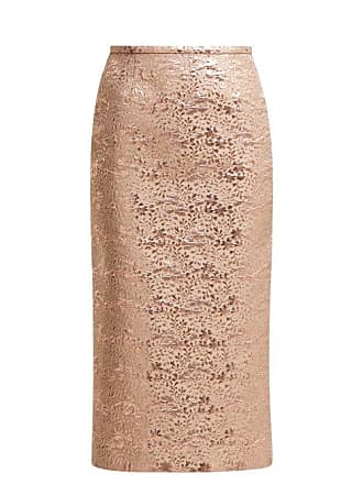 Rochas Floral Brocade Pencil Skirt - Womens - Pink