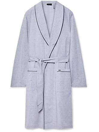 Hanro Theo Checked Mercerised Cotton Robe - Gray
