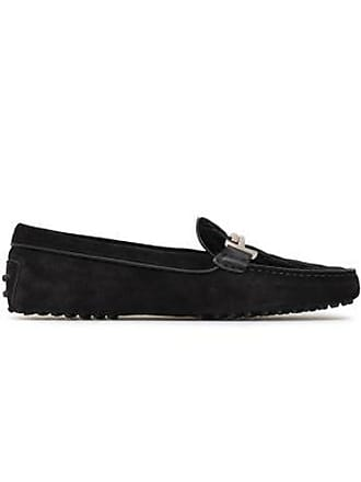Tod's Tods Woman Quilted Velvet-paneled Suede Moccasins Black Size 34.5