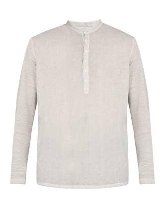 120% Lino Henley Long Sleeved Linen T Shirt - Mens - Grey