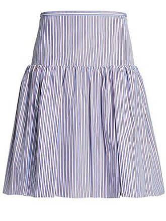 Rochas Rochas Woman Gathered Striped Cotton-poplin Skirt Light Blue Size 42