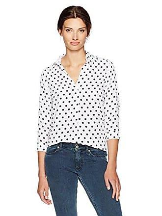 Foxcroft Womens Fleur Dot Blouse, White/Navy, 18