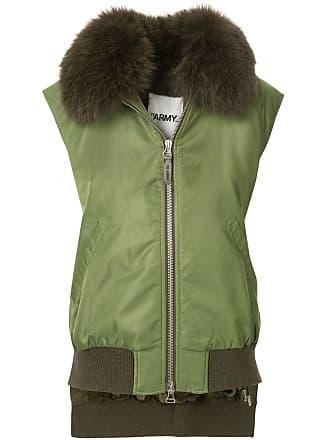 Yves Salomon - Army fox fur trim sleeveless bomber jacket - Green