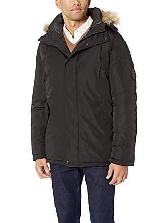 7d9fe1ef Calvin Klein Mens Parka Jacket with Faux Fur Logo Hood, Black, Large
