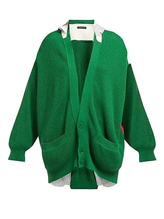 Undercover Patchwork Cotton Cardigan - Womens - Green