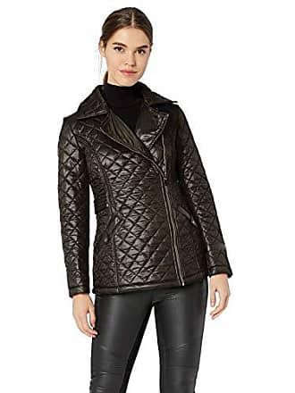 Via Spiga Womens Light-Weight Asymetrical Zip Quilted Jacket, Black, Medium