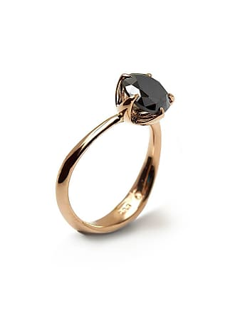 RIPA 14kt Rose Gold Molten Engagement Ring With Black Moissanite - UK N - US 6 1/2 - EU 54