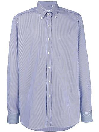 Xacus pinstripe button down shirt - Blue