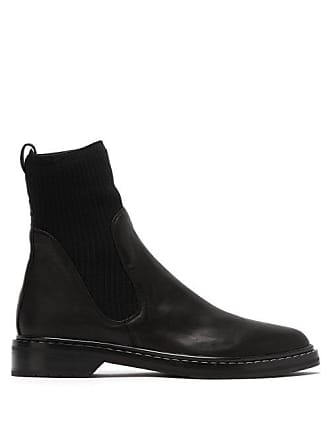 The Row Fara Cashmere Insert Leather Boots - Womens - Black 04522cec282