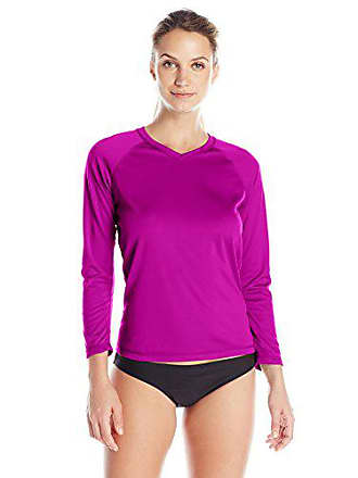 Kanu Surf Womens UPF 50+ Long Sleeve Active Swim Tee & Workout Top, Purple, XX-Large