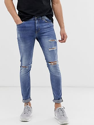 New Look skinny jeans with busted knee in light blue wash - Blue