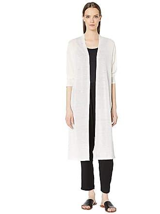 Eileen Fisher Fine Organic Linen Crepe Knit Sleeve Cardigan (Ivory) Womens Sweater