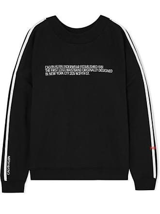 Calvin Klein Underwear Statement 1981 Embroidered Cotton-blend Jersey Sweatshirt - Black