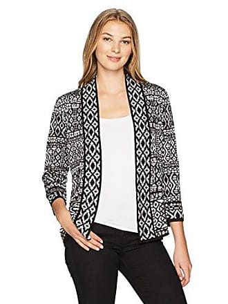 Ruby Rd. Womens Band-Collar Stripe Jacquard Sweater Cardigan, Grey Heather Multi, Large