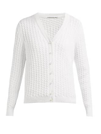 Alessandra Rich Cable Knit Cotton Blend Cardigan - Womens - White