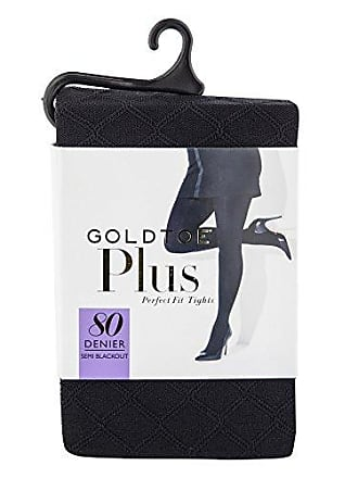 Gold Toe Womens Plus Size Semi Blackout Diamond Fashion Tights, 1 Pair, black, 1X