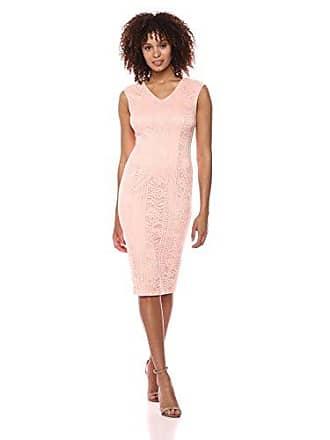 Ivanka Trump Womens Cap Sleeve Lace Dress, Peach, 6