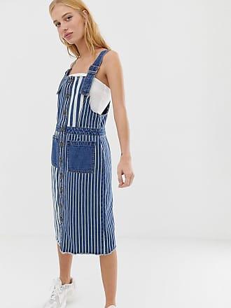 Noisy May stripe denim pinnafore dress - Blue