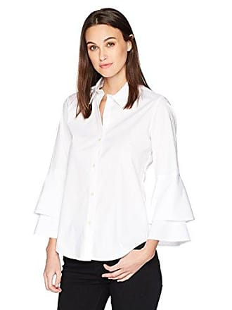 Calvin Klein Womens Longsleeve Button Front Double Ruffle, Soft White, XS
