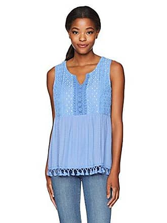 Oneworld Womens Sleeveless Solid Top with Lace Trims and Fringe Hem, Skyla M
