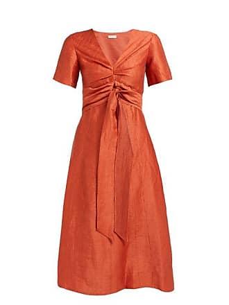 Masscob Regina Tie Waist Linen Blend Dress - Womens - Orange