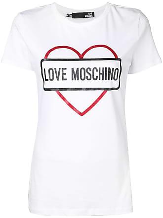 Love Moschino logo heart print T-shirt - White